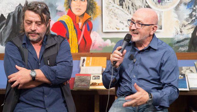Ramón Portilla y Sebastián Álvaro en la Librería Desnivel. Día del libro 2015  (©Darío Rodríguez)
