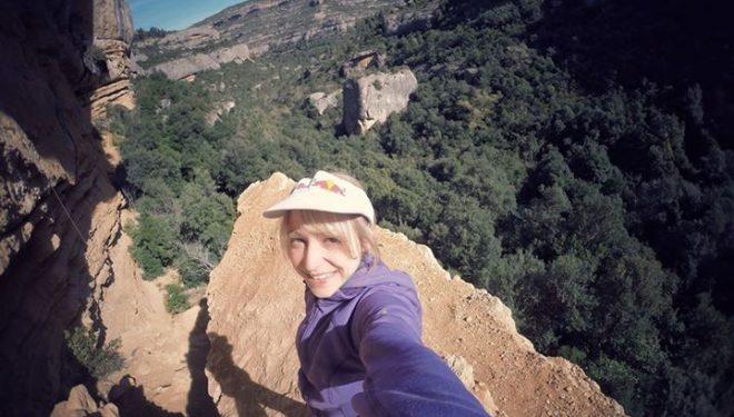 Angela Eiter tras encadenar Era vella 9a en Margalef  (Col. A. Eiter)