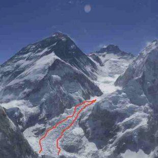 Imagen aérea de la nueva ruta por la Cascada del Khumbu  (Garrett Madison)