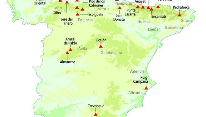 Mapa con la presencia de 20 montañas con este cierto parecido al Cervino.  ()