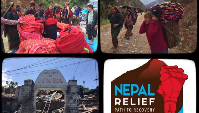 Pagar a los porteadores para inyectar dinero en las comunidades afectadas. Nepal Relief 2015  ()
