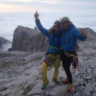 Edu Marín y Novato Marín tras escalar Orbayu en el Picu Urriellu  (Marc Subirana)