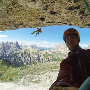 Robbie Phillips y Willis Morris en Project fear a la Cima Ovest de Lavaredo (julio de 2015) (Col. R. Phillips)
