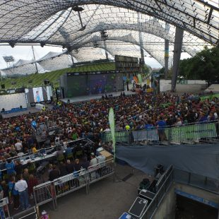 Escenario de la Copa del Mundo de Búlder 2015 en Munich  (IFSC / Eddie Towke)