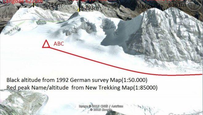 Imagen de Google Earth con los picos Langdak y Raungsiyar (Rolwaling