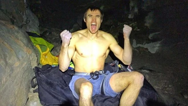Ethan Pringle tras encadenar Thors hammer 9a+ en Flatanger (Noruega)  (Dave Graham)