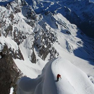 Andrés Zegers durante la ascensión de Yeguas salvajes al Cerro Yeguas Heladas (Andes chilenos)  (Oriol Baró)