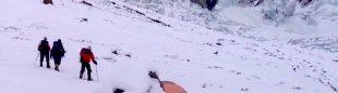Llegada al campo base del Nanga Parbat invernal (de izquierda a derecha Alex Txikon