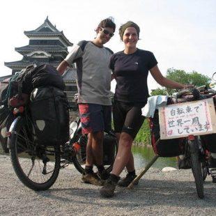 Vuelta cicloturista por el mundo. Andoni Rodelgo y Alice Goffart en Japón.  (©Mundubiciclette)