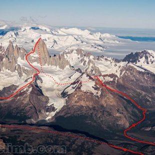 El recorrido de la ascensión en el día del Fitz Roy por Colin Haley y Andy Wyatt (Foto: Rolando Garibotti / Pataclimb.com)
