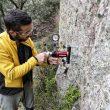 Comprobando sobre el terreno cuál es el mejor anclaje para equipar una nueva zona de escalada en Santa Eufemia (Córdoba).  (ASAC Formación)