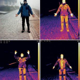 Imágenes de la cámara termográfica para comprobar el aislamiento de las prendas técnicas  (Sergio Melgosa)