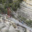 Puente colgante de 35 metros sobre el congosto del Seguer en el Camino Natural de Montfalcó  (Asociación de Guías del Montsec)