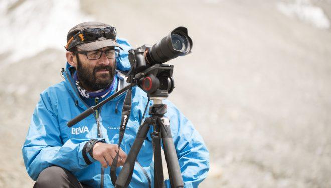 Luis Miguel López Soriano, trabajando en el Dhaulagiri en mayo 2016