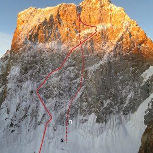Cara norte del Ogro II. (1) Intento de Adamson-Dempster (2) descenso
