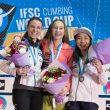 Janja Garnbret (centro) gana la Copa del Mundo de Escalada de Dificultad 2016 en Xiamen (China) a falta de una prueba.  ()