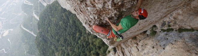 Edu Marín en la primera repetición de Tarragó (8b+/240 m) en El Plàtan. Pared de Diables. Montserrat.  ()