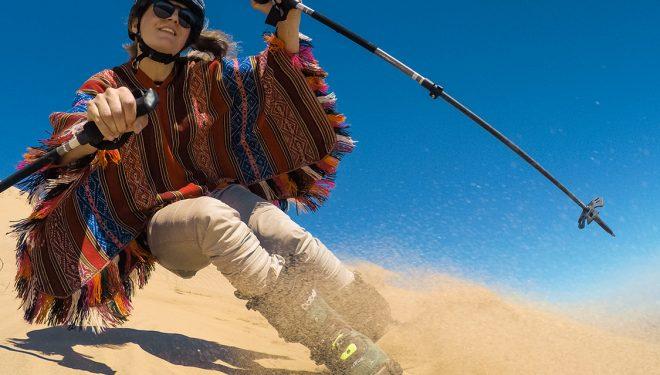 Jesper Tjäder esquía una de las dunas de arena más altas del mundo  (GoPro)