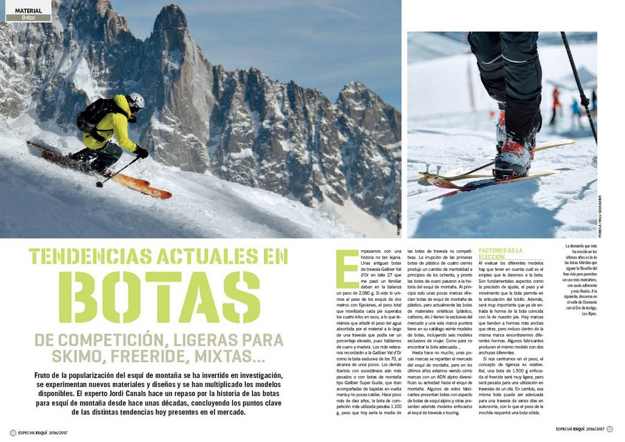 f6afdd46bed Apertura del artículo `Tendencias actuales en botas` dentro del nº 365  Especial esquí de
