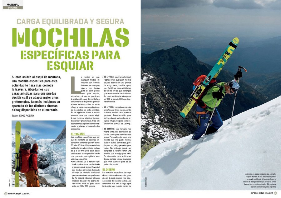 234c220c6a6 Apertura del artículo `Mochilas específicas para esquiar` del nº365  Especial esquí de montaña 2016