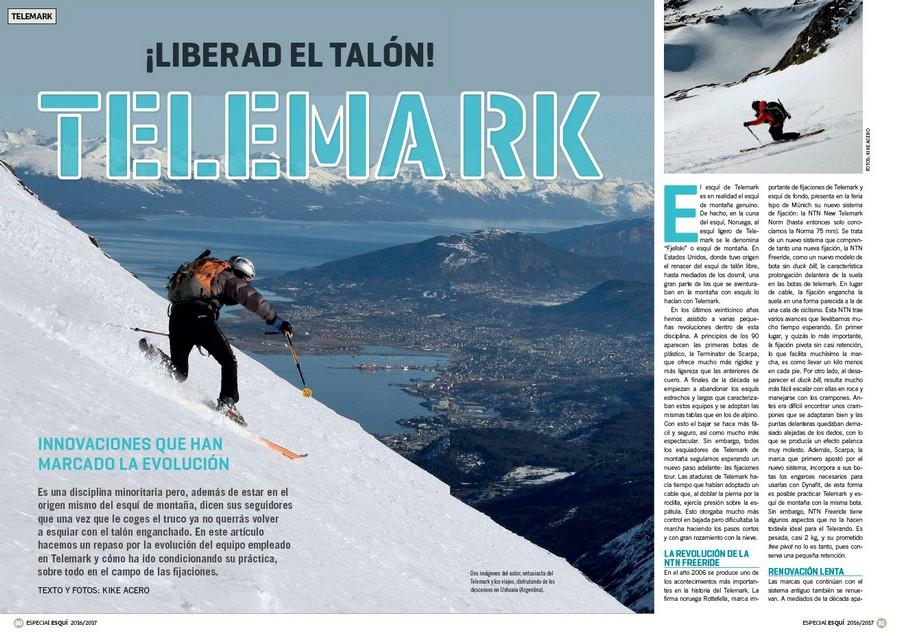 b98223b03de Apertura del artículo Telemark dentro del nº 365 Especial esquí de montaña  2016/2017.
