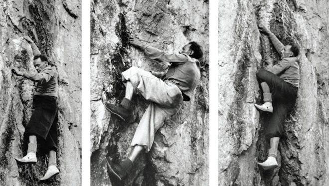 Riccardo Cassin en zapatillas de fieltro hacia 1938. Libro Alpinismo. La saga de los inventos  ()