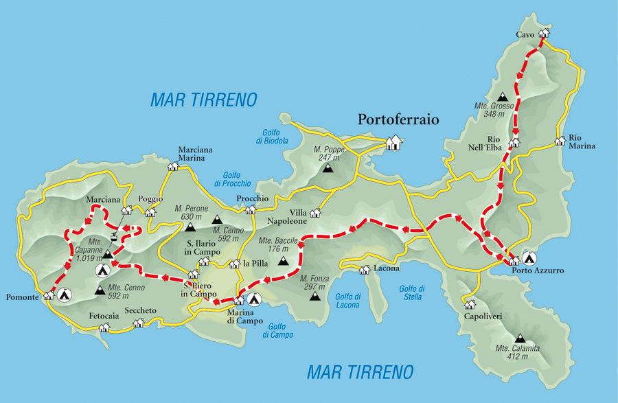 Mapa De La Isla De Elba Desnivel Com