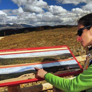El Moncayo aparece al fondo presidiendo el paisaje que explica un panel de orientación situado en la Sierra del Madero  (EDUARDO VIÑUALES)