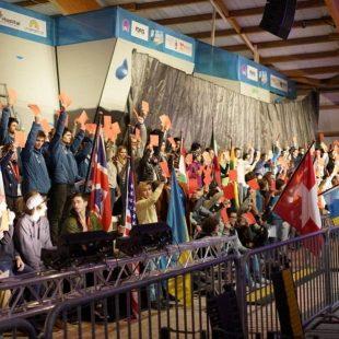 Protesta de los escaladores en la Copa del Mundo de Meiringen contra el streaming de pago  (Foto: Circuit Climbing)