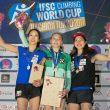 Podio femenino de la Copa del Mundo de Búlder 2017 en Hachioji.  (EddIE Fowke / IFSC)