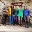 Alex Megos y sus compañeros de escalada de estos días en Gravere (Italia). Mayo 2017  (Col. A. Megos)