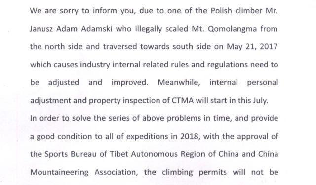 Comunicado del China Mountaineering Association. Junio 2017  ()