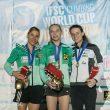 Podio femenino de la Copa del Mundo de Escalada 2017 en Villars (Suiza).  ()