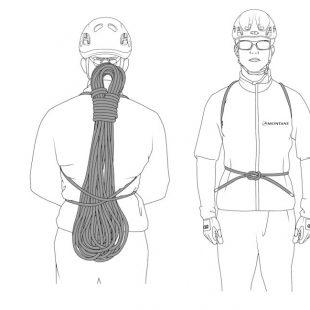 Cómo plegar la cuerda en modo mochila.  (©Manual de plegado y transporte de cuerdas)