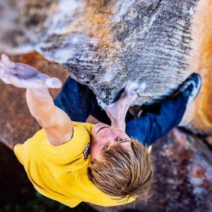 Alex Megos en The Finnish line 8C de Rocklands  (Foto: Ken Etzel)