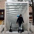 Un peregrino camina por el casco antiguo de Vitoria-Gasteiz  ()