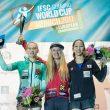 Podio femenino de la Copa del Mundo de Búlder 2017: 1ª Shauna Coxsey