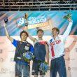 Podio masculino de la Copa del Mundo de Búlder 2017: 1º Jongwon Chon
