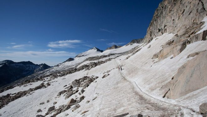 Huella al comienzo del glaciar del Aneto tras cruzar el Portillón Superior.  (Rutaspirineos.org)