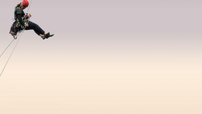 Rápel aéreo.  (Darío Rodríguez / Desnivel)