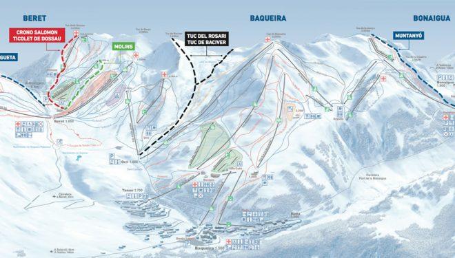Circuitos para esquiadores de montaña en la estación de Baqueira-Beret.