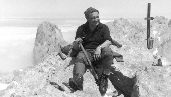 Félix Méndez en la cumbre del Pico Tesorero en 1963.