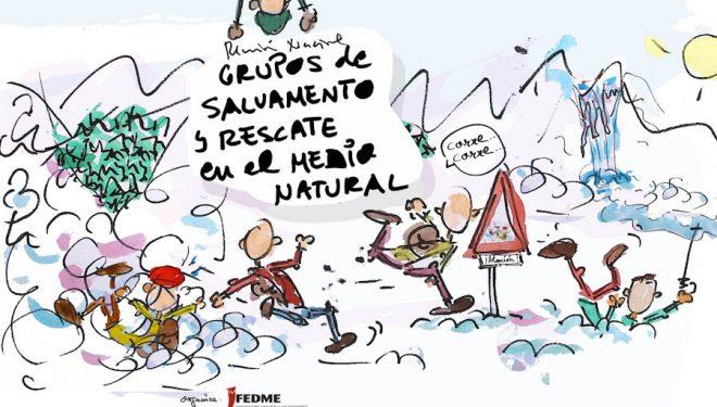 Cartel de la primera reunión nacional de todos los grupos de rescate en montaña. 2018
