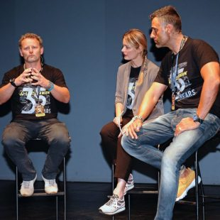 Tim Leatherman con la actriz y presentadora Ivana Miño y el aventurero Rafa Lomana