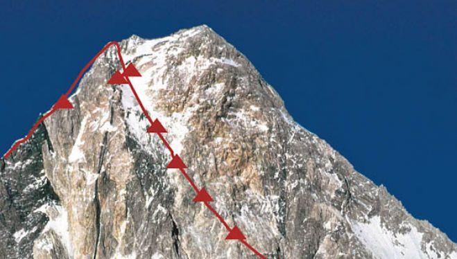 Línea seguida por Voytek Kurtyka y Robert Schauer en el Gasherbrum IV en 1985 para abrir la vía (sin cima) de la Pared Resplandeciente. Del libro 'Kurtyka. El arte de la libertad'.