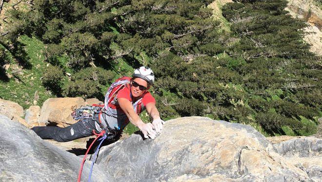 La escaladora Caroline Ciavaldini asegura a James Pearson durante la segunda repetición de 'El ojo crítico'. 2018