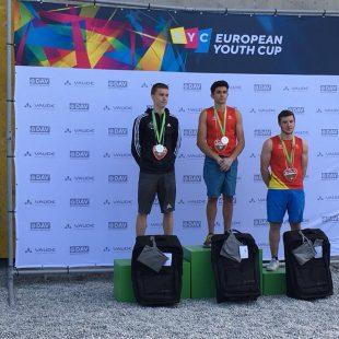 Podio 4ª prueba Copa de Europa Juvenil 2018 (Youth A), con Alberto Ginés (1º) y Eneko Carretero (3º)
