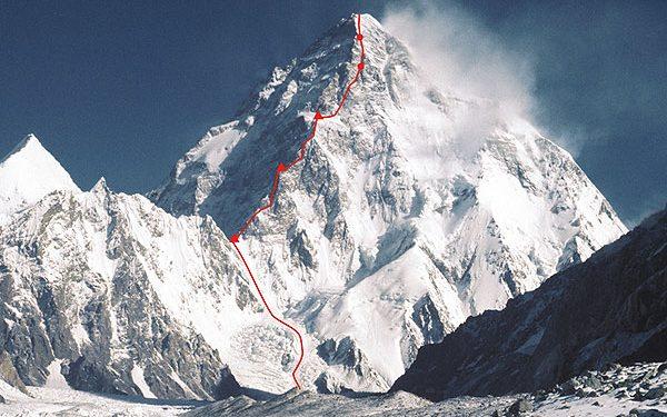 K2 con el trazado de la Magic Line