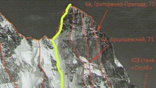 """""""Matsoni"""", en la noroeste del Ushba (47 largos, 1.600 m. VII ED WI.3) abierta por Denis Urubko y María """"Pipi"""" Cardell del 6 al 8 agosto 2018 (3 días escalada y uno descenso)."""