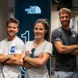 Aymar Navarro, Marion Haerty, Siebe Vanhee en la tienda de The North Face en Madrid.